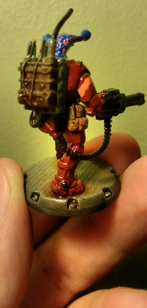 Back of painted Dust Tactic's NCO Commander with Alien Head