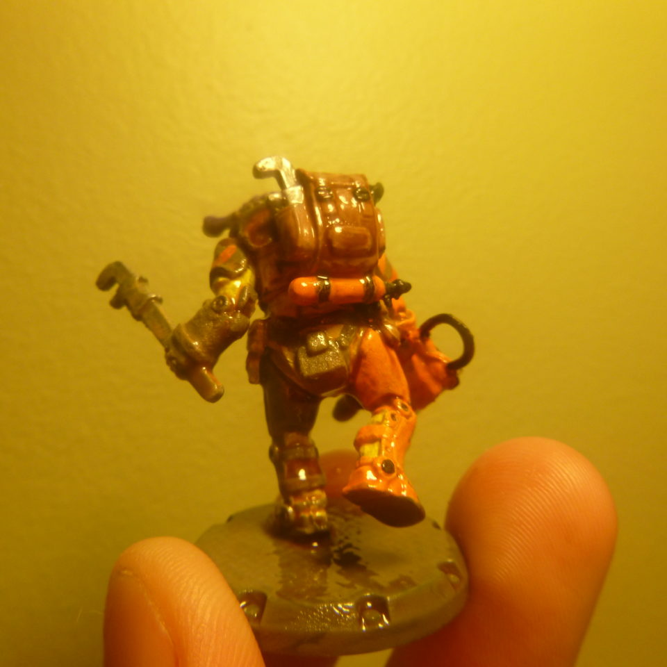 Dust Tactics Corps Officer Mechanic miniature modified with Hasslefree Alien Head