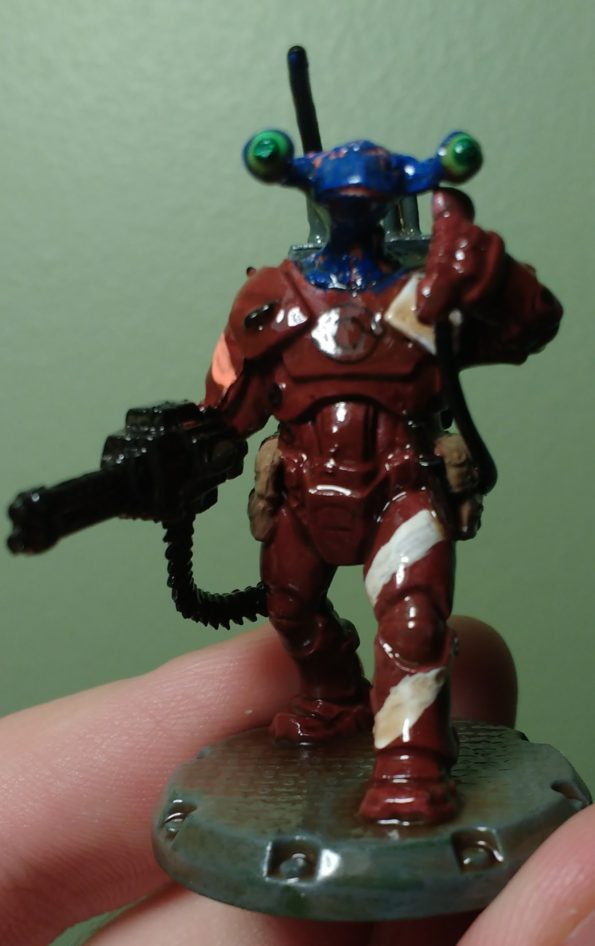 Front of Dust Tactics NCO Commander with Alien Head
