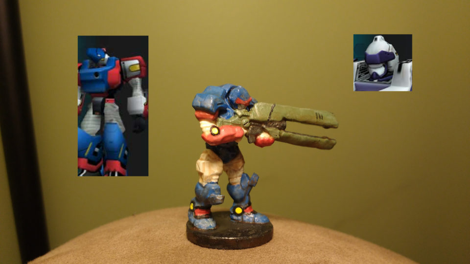 Enforcer Peacekeeper painted red, white, and blue with PSO RAcast images included