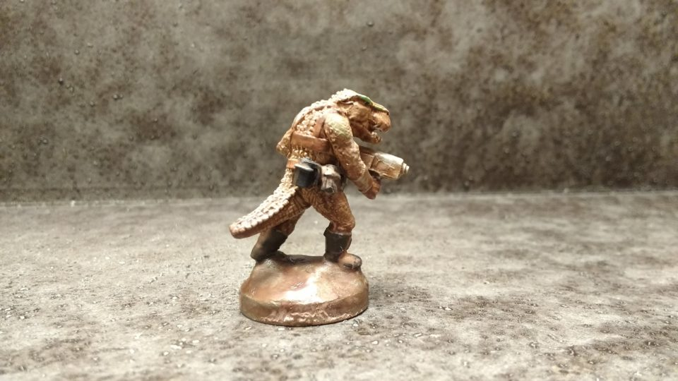 Painted Garn Warrior from Khurasan Miniatures viewed from the side.