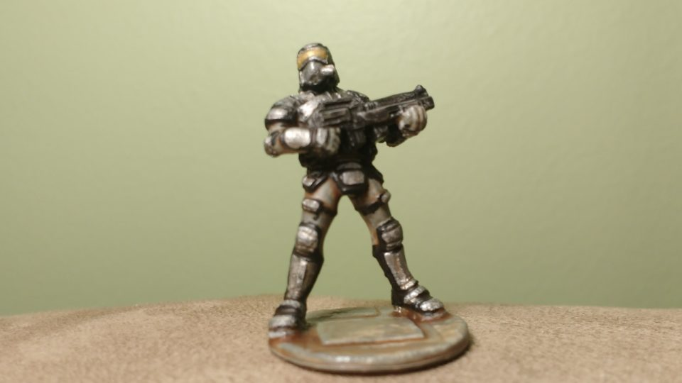 A Nova Corps Soldier miniature from the original Reaper Bones Kickstarter.