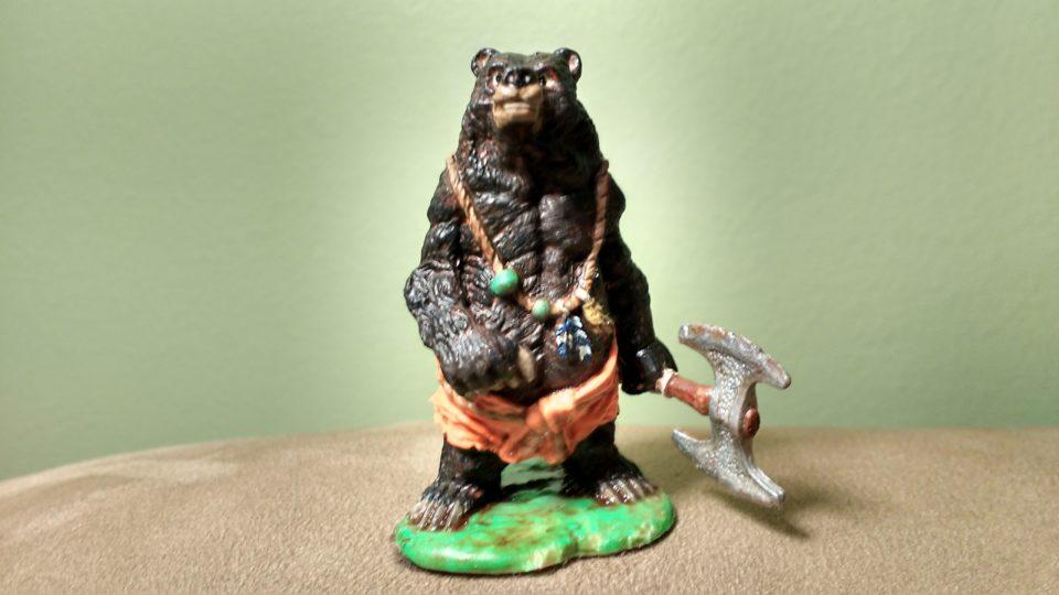 A Werebear miniature from the Reaper Bones line.