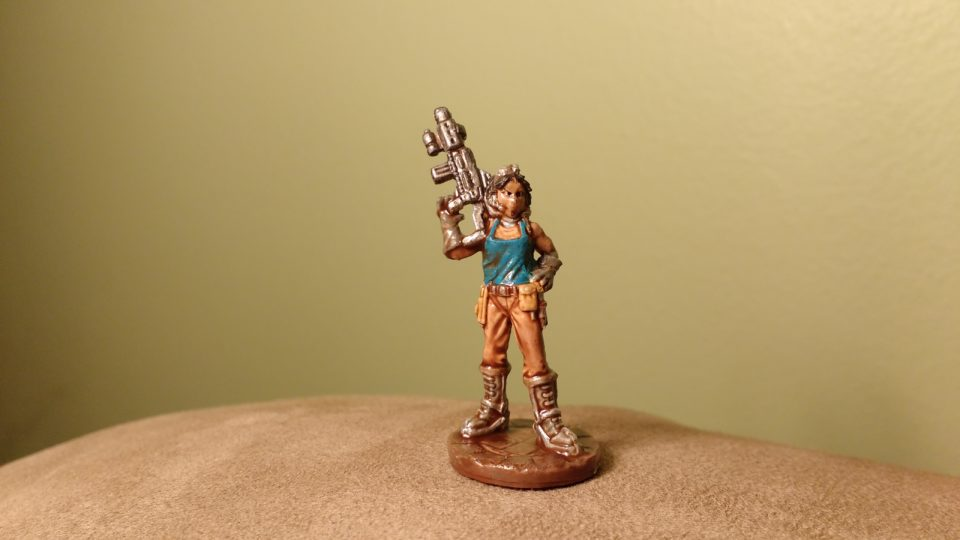 Painted Reaper Bones Miniature of Rosie the Chronotechnician.
