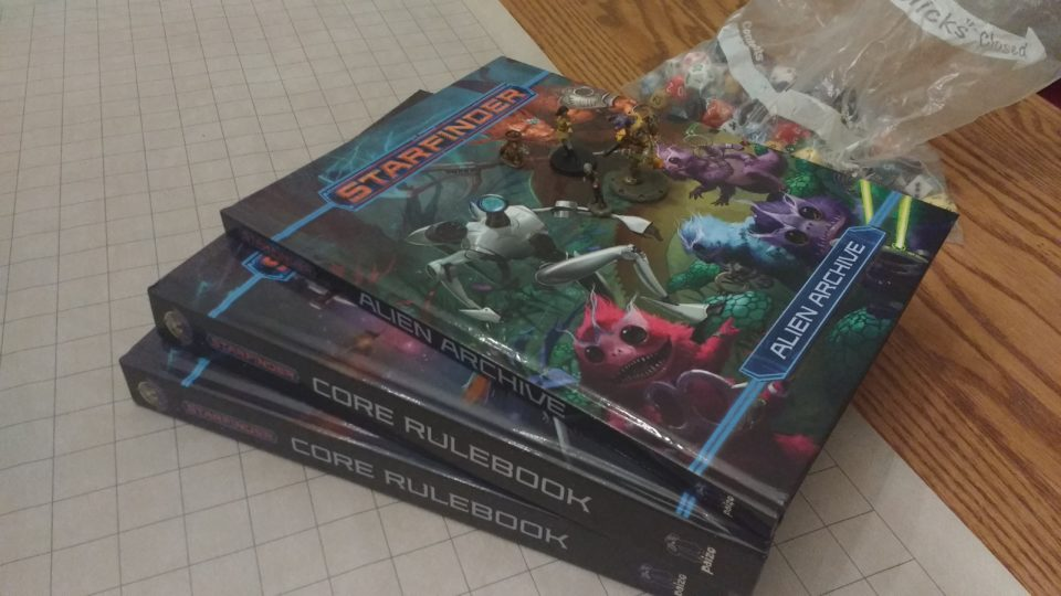 Photo of our first dry run of Paizo's Starfinder RPG
