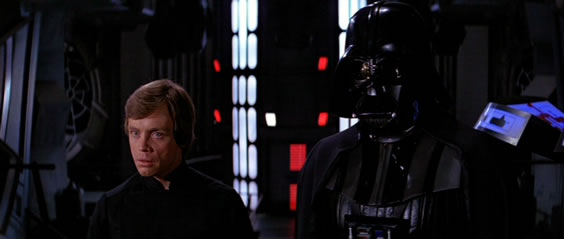 Luke Skywalker and Darth Vader in Star Wars Return of the Jedi