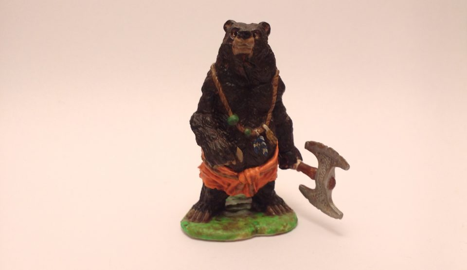 Werebear miniature from Reaper in Photobox Front