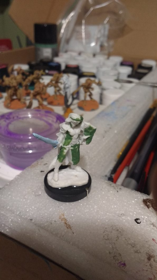 The Aviriel Tellerion miniature from Reaper Bones converted to resemble Alisa Landale from the Phantasy Star series.