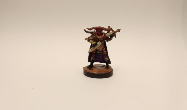Graveknight miniature from the Reaper Bones II Kickstarter. Painted maroon, black, and purple.