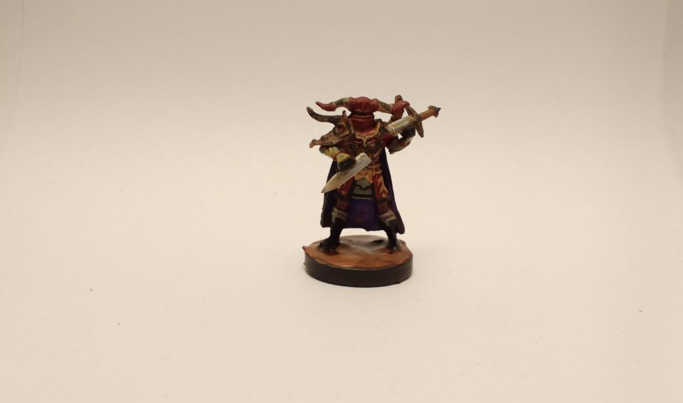 Graveknight miniature from the Reaper Bones II Kickstarter. Painted maroon, black, and purple.