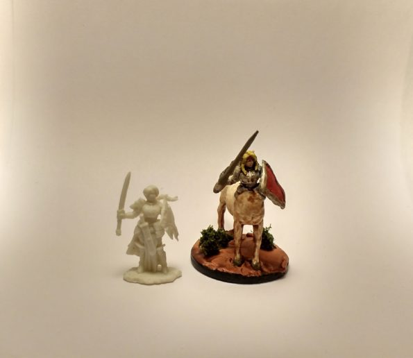 The Trista miniature before and after being converted to a centaur