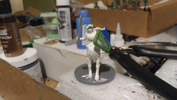 Trista the White Wolf torso on horse body. Adding details with Kneadatite.