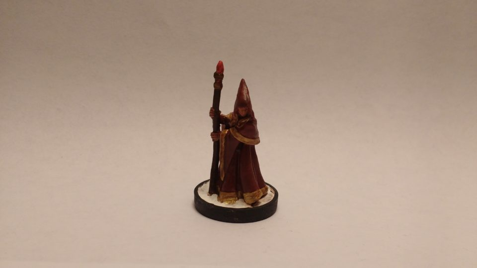 Anirion Wood Elf Wizard miniature from Reaper Bones. Viewed from front.