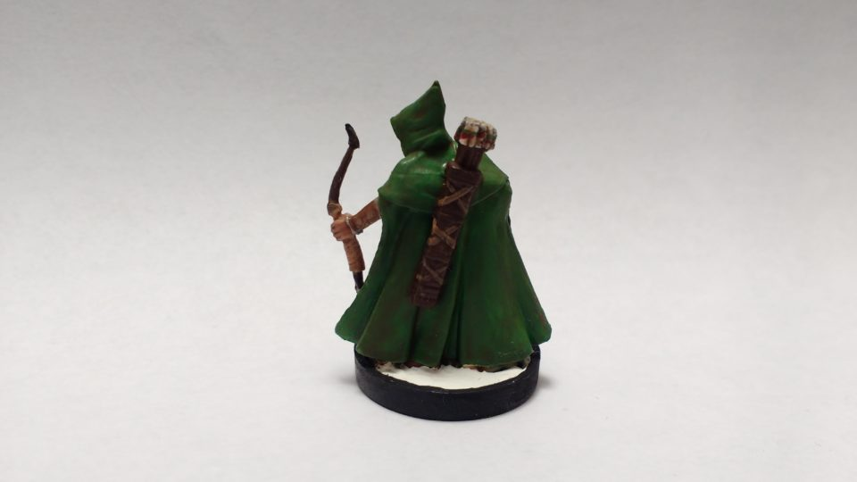 Arthrand Nightblade, Elf Ranger miniature from Reaper Bones. Viewed from back.