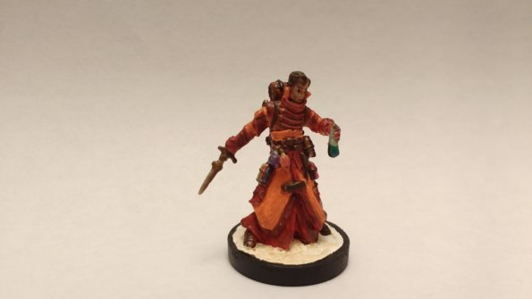 Damiel Iconic Alchemist miniature from Reaper Bones. Viewed from the front.