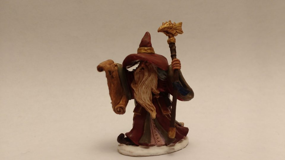 Galladon Male Wizard miniature from Reaper Bones. Viewed from front.