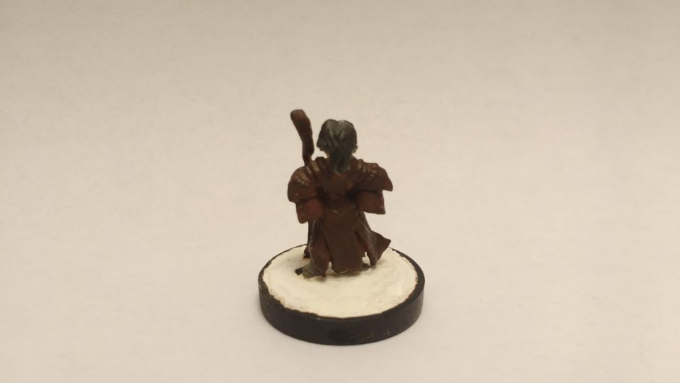 The Lem Iconic Bard miniature from Reaper Bones. Viewed from the back.