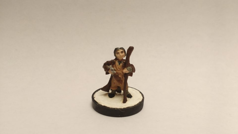 The Lem Iconic Bard miniature from Reaper Bones. Viewed from the front.