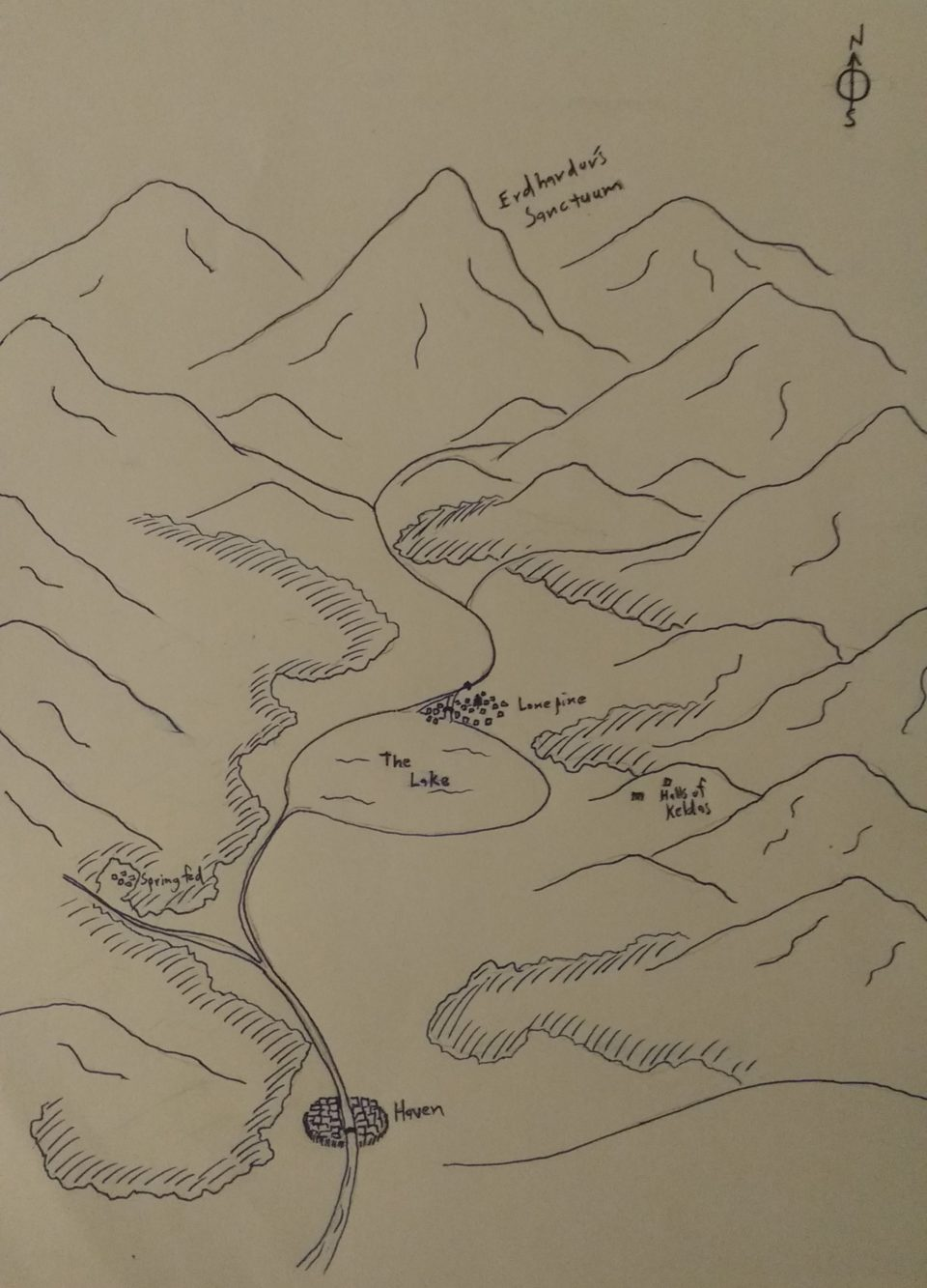 Map of the valley that is the home of the player characters in the Celestial Winter campaign.