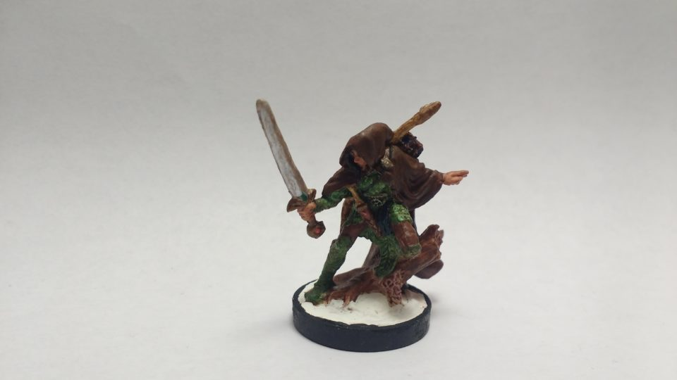 Nienna Female Elf Ranger miniature from Reaper Bones. Viewed from front.