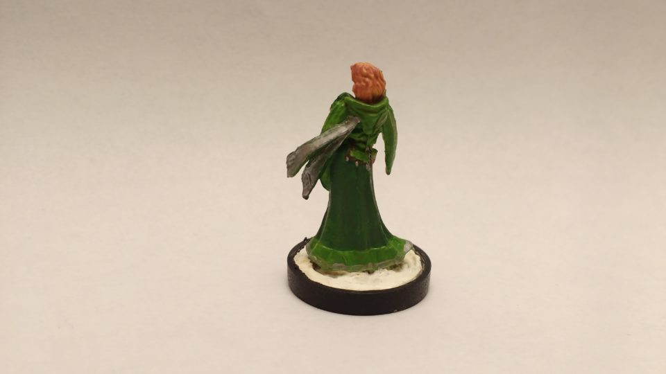 Ostarzha Elf Cleric miniature from Reaper Bones. Viewed from Back.