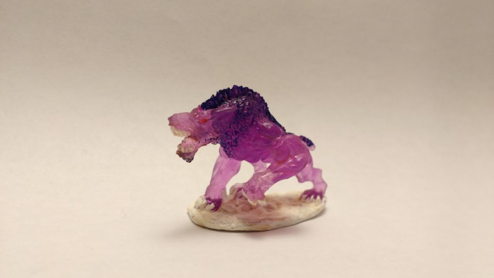 Shadow Hound miniature from Reaper Bones. Viewed from the side.
