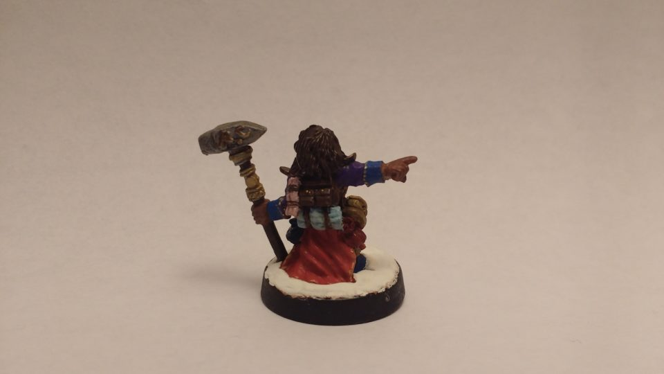 The Valana Forgemaiden Sergeant from the Reaper Miniatures Warlord line. Viewed from the back.