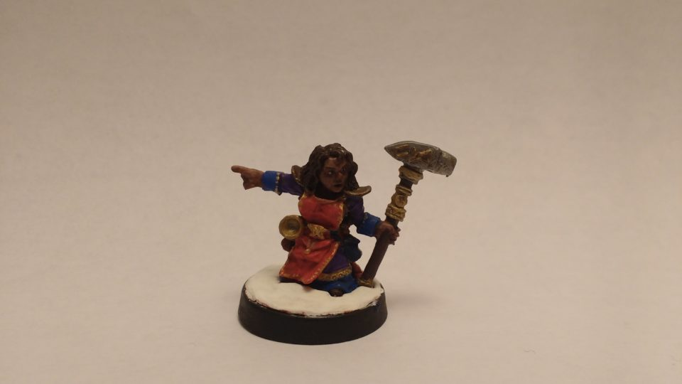 The Valana Forgemaiden Sergeant from the Reaper Miniatures Warlord line.