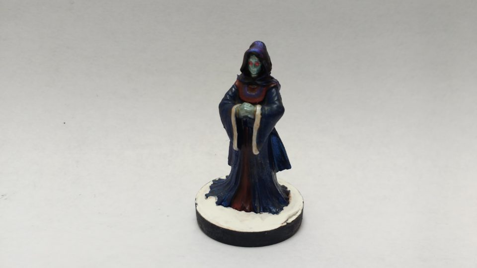Aglanda Herald Of Razmir miniature from Reaper Bones. Viewed from the front.
