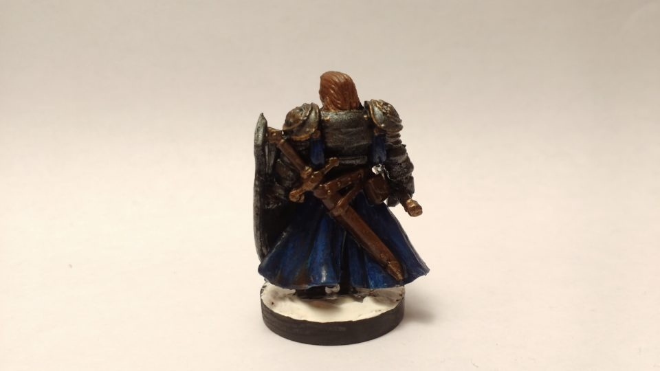 The Duke Gerard miniature from Reaper Bones. Viewed from Back.