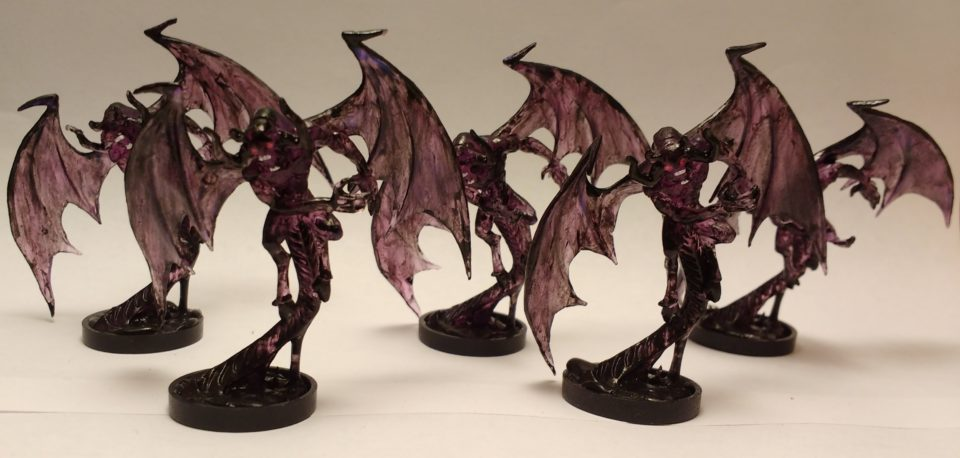 Five Shadow Demon miniatures from Reaper Bones.