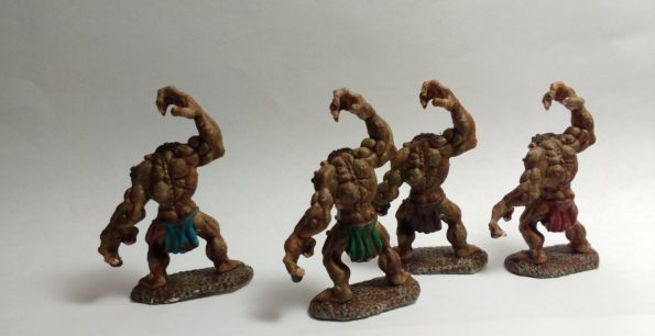 Cave Troll miniatures from Reaper Bones viewed from behind