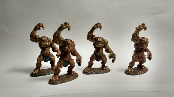 Four Cave Troll miniatures from Reaper Bones viewed from Front