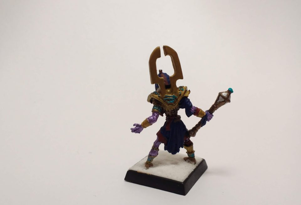 Reaper Warlord miniature Chosen of Sokar viewed from back.