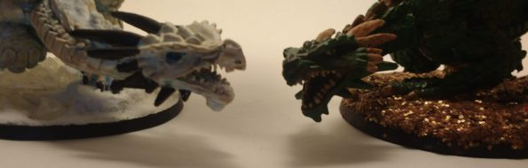 Two Marthrangul the Great Dragon miniatures from Reaper Bones facing off