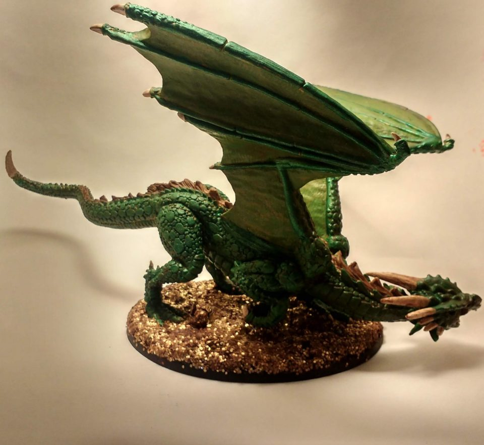 Marthrangul the Great Dragon miniature from Reaper Bones viewed from the Back