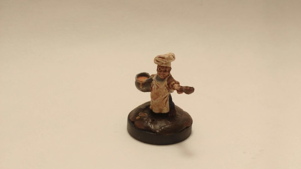 Halfling Cook miniature from Reaper Bones viewed from the front