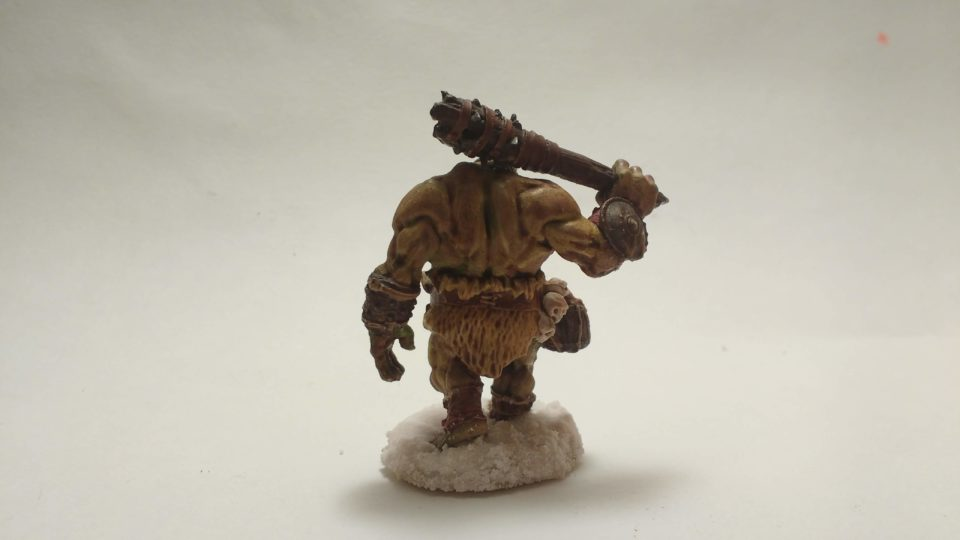 The Ogre Guard miniature from Reaper Bones viewed from behind