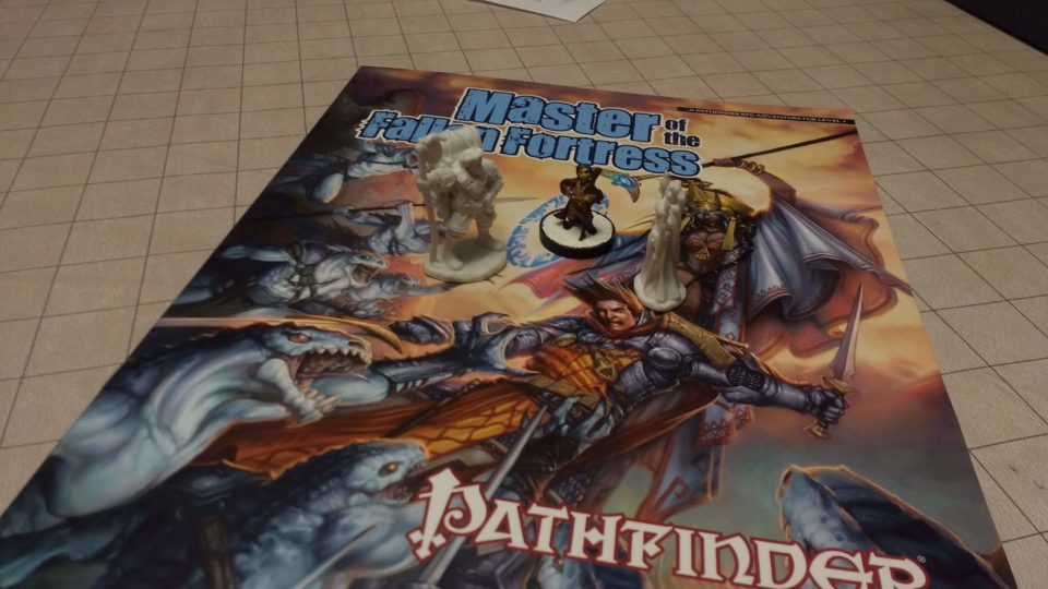 Pathfinder with Pop - The three Player Characters on top of the Master of the Fallen Fortress