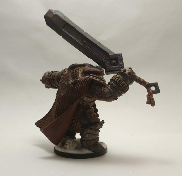 Skorg Ironskull Fire Giant King miniature from Reaper Bones viewed from behind