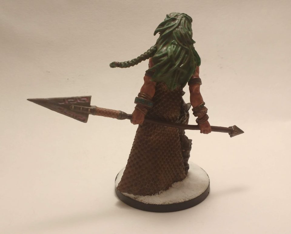 The Vanja Fire Giant Queen miniature from Reaper Bones viewed from behind.