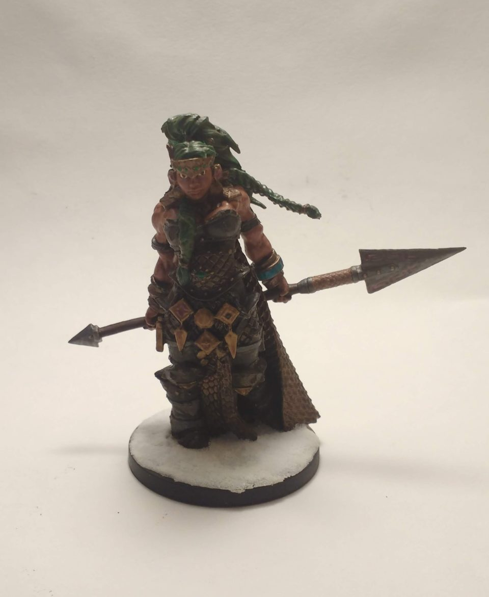 The Vanja Fire Giant Queen miniature from Reaper Bones viewed from front.